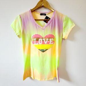Buzz, LOVE logo multicolor neon t-shirt. Size M